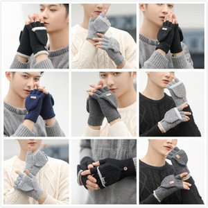 Colors Winter Warm Gloves Men Women Cute Half Finger Turn Over Flip Top Mitten Gloves Winter Student writing knitted woolen gloves OWE2180