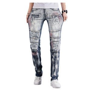 Men's Patchwork Ripped Biker Jeans Vintage Holes Distressed Slim Straight Stretch Denim Pants Painted Trousers