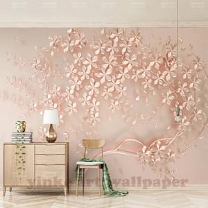 Индивидуальные Большой Mural Elegance стереоскопических 3D Flower Rose Gold 3D обои для гостиной телевизор фоном Обоев высокой четкости H n04H #