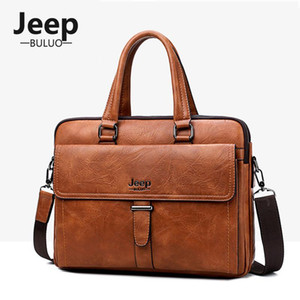 BULUO Brand Men Briefcase 13.3 Inch Business Laptop Bags PU Leather Top Handle Bag Male Office Computer Pack Tote Bag Man