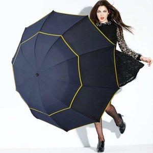 Winddicht groß 130 cm große doppelschicht männer regen frau tragbare regenschirm männliche frauen sonne 3 floding Geschäftsschirme