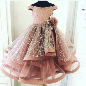 Blush Pink 2020 Flower Girl Dresses Ball Gown Little Girl Birthday Party Dresses Vintage Off Shoulder Communion Pageant Dresses