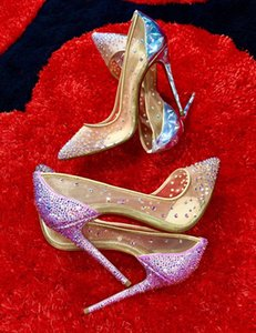 Elegant Dress Wedding Shoes Luxury Follies Strass Women's Pumps Sexy Red Bottom Shoes Pointed Toe Lady High Heels Stiletto Heels EU35-43
