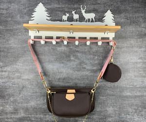 ممتازة الجودة موضة حقائب مل 3pcs جلدية حقيقية المرأة المفضلة CROSSBODY حقيبة السيدات سلسلة حمل رسول حقائب الكتف عملة المحفظة