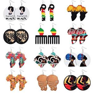 Padrão de África étnica artesanal Imprimir brincos de madeira para mulheres vintage história africana redonda declaração de madeira soltar brincos