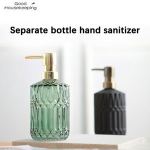 High Quality Large 400ML Manual Soap Dispenser Clear Glass Hand Sanitizer Bottle Containers Press Empty Bottles Bathroom#GH C0123