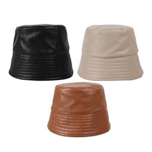 Men's and Women's Bucket Hats Winter Warm Plush Soft Outdoor Flat Fishing Hat Leisure Panama Fisherman Hat Art Small Leather