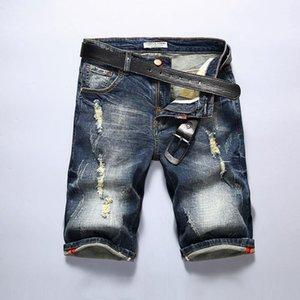 Mens Slim Jeans Shorts Männer Marke Ripped Bermuda Sommer Capri Herren Biker Designer Kleidung Loch Denim Halbüberschreitung Short1