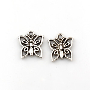 200pcs Hot Sell Antique Silver Hollow Butterfly Alloy Charms Pendant 13mmx14.5mm For DIY Jewelry Making