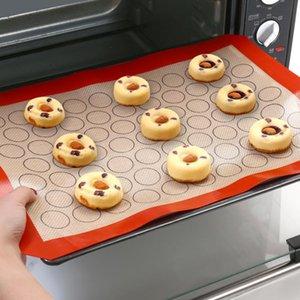 1 ADET Çok Amaçlı Fırın Sac Ekmek Kalıp Macaron Çerez Puf Yapışmaz Yuvarlak Şekil Fırın Tavalar Liner 42 * 29.5 cm