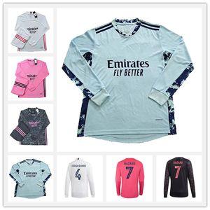 20 21 Real Madrid Manga Longa Futebol Jerseys Hazard Valverde Rodrgo Camiseta 2020 2021 Vinicius Asensio Camisa de Futebol Equipamento