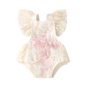 Baby Girl Romper Lace Beaded Ruffles Embroidery Romper Summer Infant Jumpsuits Fashion Cute Princess Romper