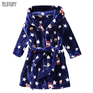 TELOTUNY Children's Bathrobe Autumn Winter Warm Flannel Nighgowns for Boys Girls Cartoon Kids Robes Fleece Hooded Bathgowns 1106 Y200429