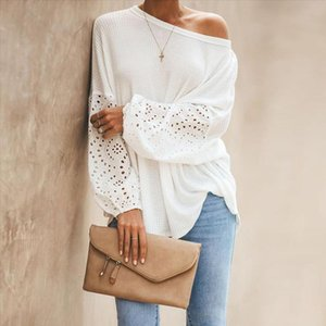 Sexy One Off Shoulder Knitted Pullover Sweaters Casual White Long Flare Sleeve Embroidery Hollow Out Knitwear Jumper Tops