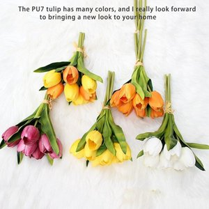 31cm Artificial Flower Tulip 7pcs PU High Imitation Tulip Bouquet Holiday Wedding Graduation Gift Valentine Gift Decoration