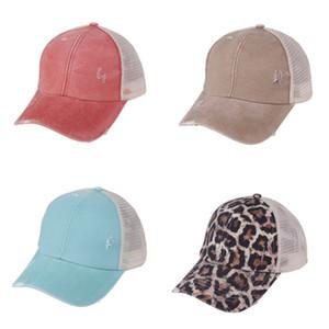 Solid Washed Ponytail Cap Hat Kids Sports Ball Cap Unisex Summer Visor Fitness Sun Hats Boys Girls Leopard Mesh Patchwork Headwear HH2311
