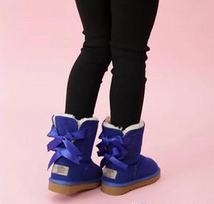 2020 SICAK çocuklar Bailey 2 Yaylar Boots Gerçek Deri bebekler Kar Boots Katı Botaş De nieve Kış Kız Ayakkabı Bebek Kız Botlar 57