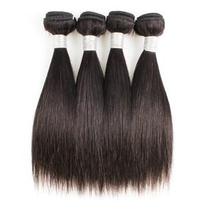 Paquetes de tejido de pelo recto 4 PCS 50G / PC Color 1B Black Barato Virgen peruano Virgin Human Weave Extensions para el estilo bob corto