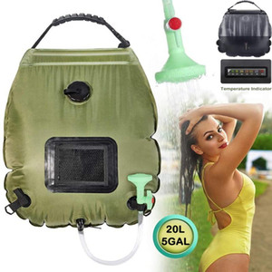 Outdoor Solar Shower Bag Hiking Shower Water Bag 20L Portable Heating Camping Water With Hose Switchable Head