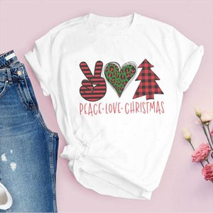 Tees for Women Print Leopard Love Plaid Tree 90s Merry Christmas Clothes Lady Tops Clothing Female T Shirt Graphic T Shirt