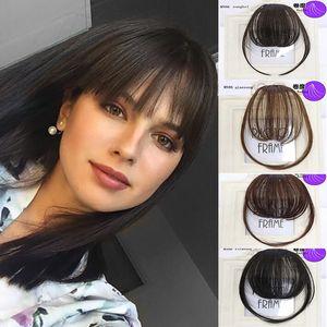 Air Bangs Pure Bangs Hair Extension Synthetic Wig Natural Black Light Brown Dark Brown Black High Temperature Fiber