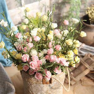 Artificial Flowers PE Fake RoseFloral Wedding Bouquet Bridal Hydrangea Decor Small Roses Wedding Party Home Decorv