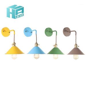 Nórdico Contratado e moderno Restaurante Creative Macaron Bedroom Bedside Wall Lamp Personalidade Corredor Fixture1