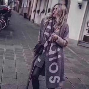 Новый шарф на осень и зима в Америке в 2020 году, Внешнеторговая Pure Color Письмо Логотип Шарф, кашемира, как пара шарф шаль