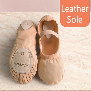 Cow Leather Ballet Shoes Girls Split Leather Sole Toddler Children Ballet Slippers Soft Gymnastics Dance Shoes 201017