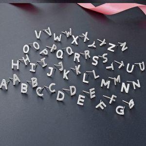 Stylish 26 letters diamond zirconia earrings for women girls fashion luxury designer stud earrings jewelry s925 silver anti allergic