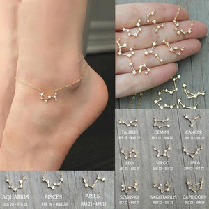 Simple Tiny 12 Constellations Ankle Bracelet for Women Geometric Zircon Zodiac Signs Letter Foot Chain Anklets Chains Statement Jewelry Gift
