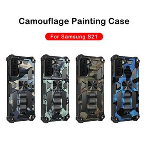 Shockproof Armor Kickstand Phone Case For Samsung S21 S21Ultra iPhone 12 11 Pro MAX XS XR XS MAX 7 8Plus Camouflage Back Cover
