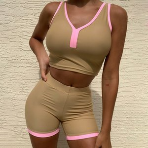 Summer 2020 women's Fitness Yoga sportswear 2-piece combination sexy thin water tank high bicycle shorts women's sportswear relaxed
