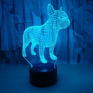 Changeable Touch Remote Control Vision lamp Colorful 3D Night Lights Atmosphere French Bulldog 3d Small Table Lamp Christmas Gift