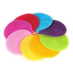 Nettoyage silicone bol Brosse de nettoyage multifonction magique coloré Pot brosse récurage Pad Pan Wash Brosses Outils de cuisine Nettoyage OWD2390