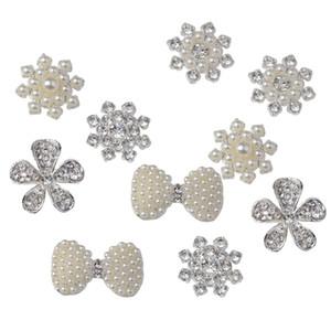 10pc Sahte Pearl Rhinestone Bezemeler Çiçek Flatback Rhinestone Düğmeler