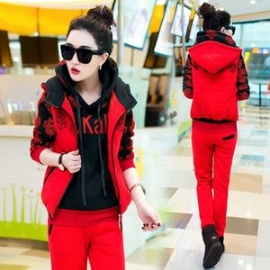 Autumn and winter new Fashion women suit women's tracksuits casual set with a hood fleece sweatshirt three pieces set 201012