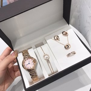 New Fashion Womens Watches Jewelry 5pcs Sets Rings Necklace Earrings Bracelet Lady Gift Classic Wristwatch High Quality Designer Jewelry