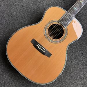 Katı Sedir Üst Abalone Akustik Electric Guitar Bağlama