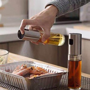 Kitchen Oil Sprayer Pot Stainless Steel Olive Mister Oil Spray Pump Fine Bottle Cooking Roast Bake Oil Bottle Tools For Pasta 17.5*4cm R3206