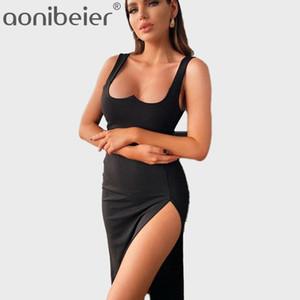 Aonibeier Summer Summer Dress Long Dress Black Sweetheart Scollatura Donne Tank Midi Vestito Lato Slip Slim Slim-Calf Gheath1