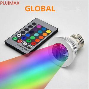 LED RGB لمبة 16 لون تغيير 3 واط أدى أضواء الأضواء RGB أدى ضوء لمبة مصباح E27 GU10 E14 MR16 GU5.3 مع 24 مفتاح التحكم عن بعد 85-265V 12V