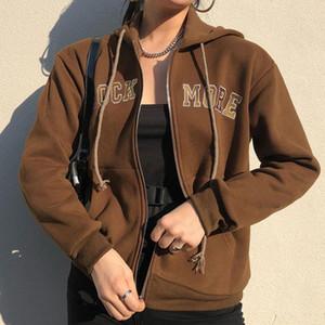 Hoodies Jackets Female Letter Embroidery Fleece Hooded Sweatshirt Jackets Y2K For Girls Brown Zipper Pockets Loose 2021 Vintage