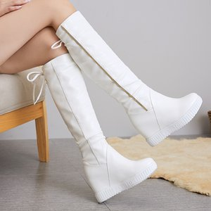 Wedge Platform Women High Boots Knee High Boots Girls Slip on Fashion Height Heel Wedge Boot white Casual Shoes Woman zogeer