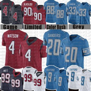 4 Deshaun Watson 99 J.J. Watt 9 Matthew Stafford Football Jersey 90 Jadeveon Clowney 20 Barry Sanders 88 T.J. Hockenson Jersey