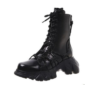 Women Army Combat Ankle Boots Woman Lace up Shoes Gothic Platform Leather Chunky Heels Boots New Fashion Botas Mujer