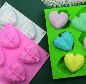 Moules en silicone en forme de coeur Moule de savon en silicone tridimensionnel 6 entreprises Glace Cube Moules de décoration de gâteau Fournitures