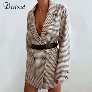 Dicloud Elegant Plaid Blazer Dress Winter Autumn Women Long Sleeve Oversized Jacket Office Lady Wrap Bodycon Casual Streetwear 201022