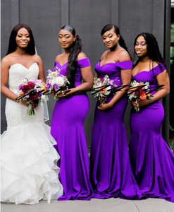 Off Shoulder Purple Bridesmaid Dresses Maif of Honor Evening Gown Formal Wear