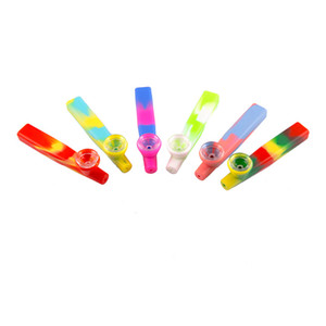 Tubos de fumaça de silicone de grau de alimentos camuflagem colorida camuflagem de vidro tigela de vidro eco-fumar tubos portáteis cigeratte acessórios vtky2236